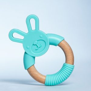 Silicone and Beech Wood Bunny Teether